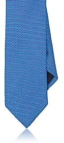 Barneys New York MEN'S GEOMETRIC-DOT SILK SATIN NECKTIE-BLUE