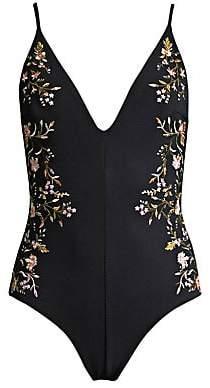 Zimmermann Women's One-Piece Floral Plunge Swimsuit