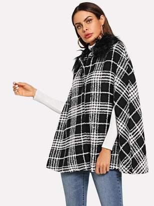 Shein Faux Fur Embellished Plaid Cape Coat