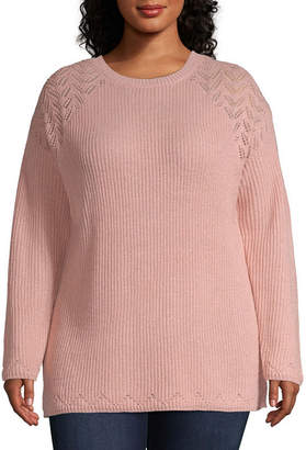 ST. JOHN'S BAY Pointelle Crew Neck Sweater - Plus