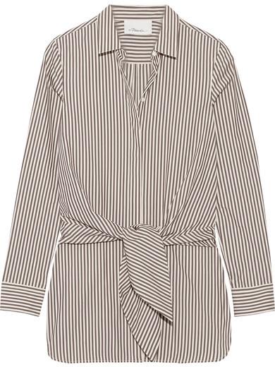 3.1 Phillip Lim3.1 Phillip Lim - Tie-front Striped Cotton And Silk-blend Oxford Shirt - Dark brown