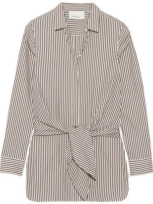 3.1 Phillip Lim - Tie-front Striped Cotton And Silk-blend Oxford Shirt - Dark brown