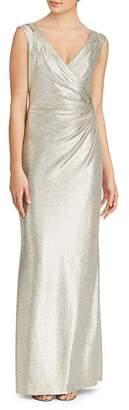Ralph Lauren Metallic V-Neck Jersey Gown