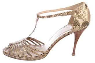 Stuart Weitzman Leather T-Strap Sandals