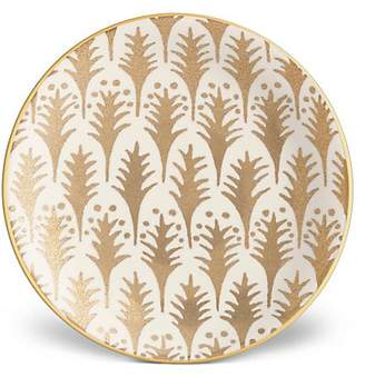 L'OBJET Four-Piece Fortuny Piumette Earthenware 24K Gold-Finish Canape Plates