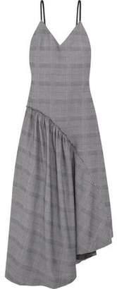 Cédric Charlier Asymmetric Checked Cotton Midi Dress