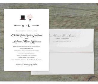Gartner Digital Top Hat and Bouquet Deluxe Wedding Invitation