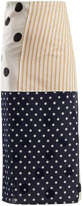 Patchwork cotton and silk skirt