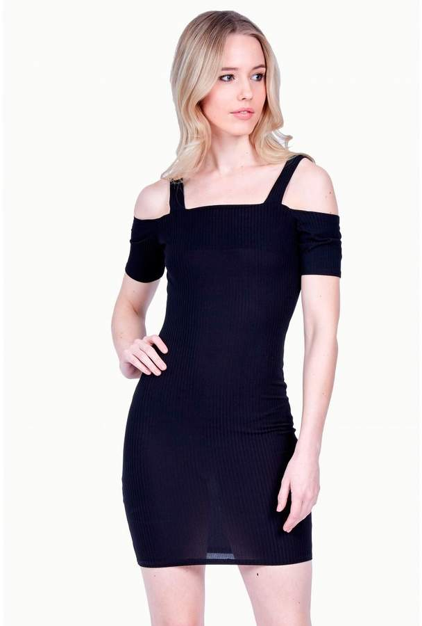 Strap Bardot Rib Bodycon Dress