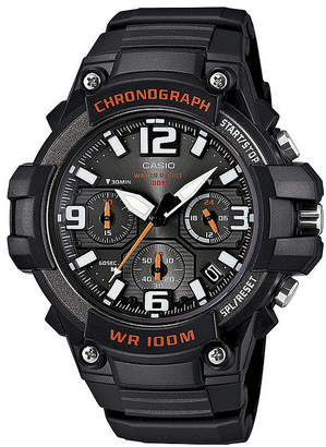 Casio Mens Black Resin Strap Chronograph Watch MCW100-1AV