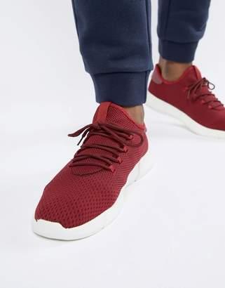 New Look Knitted Detail Sneakers In Burgundy