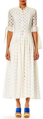 Carolina Herrera Button-Front 3/4-Sleeve Dotted Midi Dress