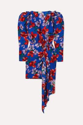 Magda Butrym Lagos Wrap-effect Floral-print Silk-jacquard Mini Dress - Blue
