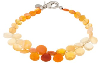 Colors of Fire Opal Bead Bracelet, Sterling