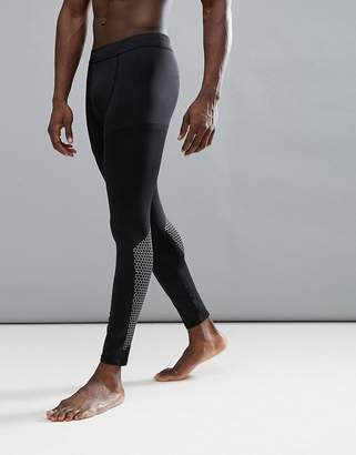 New Look SPORT Reflective Tights With Print In Black