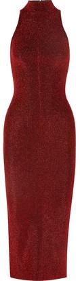 SOLACE London Stretch-lurex Midi Dress - Copper