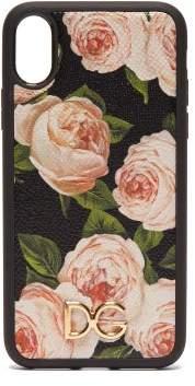 Dolce & Gabbana Rose Print Dauphine Leather Iphone X Case - Womens - Multi