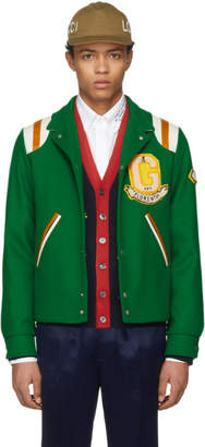 Gucci Green 'Guccy' Tiger Felt Bomber Jacket