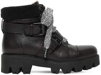 30mm Leather & Faux Shearling Boots