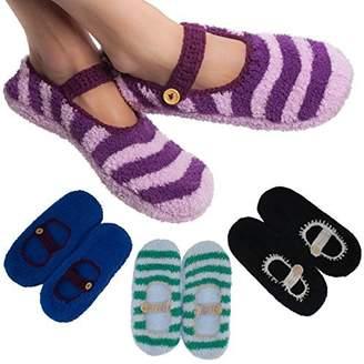 Dolce & Gabbana Wear 4 Pairs Women's Mary Jane Slipper Socks Fuzzy Non-Skid