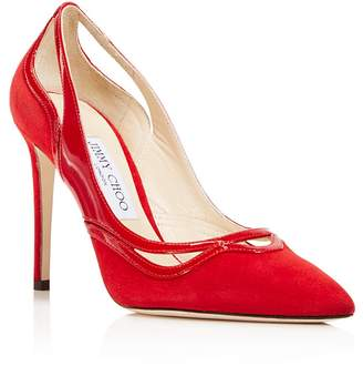 Jimmy Choo Women's Hickory 100 Suede & Patent Leather Cutout High Heel Pumps
