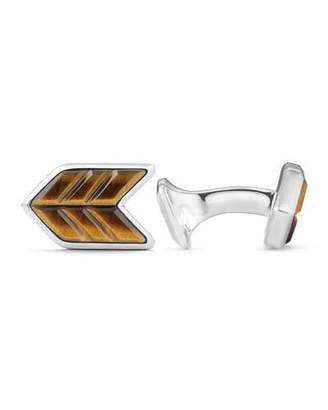 David Yurman Tiger's Eye & Sterling Silver Chevron Cuff Links