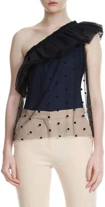 Maje Lowers Dot Mesh Overlay One Shoulder Top