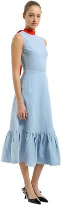 Self-Tie Collar Linen Dress