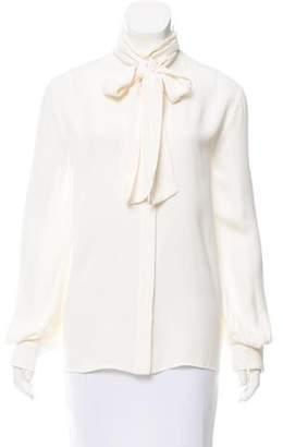 Fendi Sash Tie-Accented Silk-Blend Blouse w/ Tags