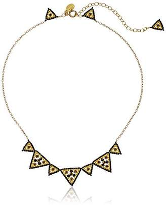 Miguel Ases Quartz Large and Small Triangle Collarbone Chain Necklace