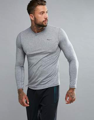 Saucony Running Freedom Long Sleeve Top In Gray SAM800018-DGH
