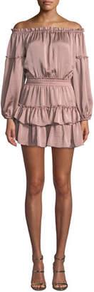 MISA Los Angeles Romi Off-the-Shoulder Tiered Ruffle Mini Dress