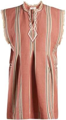 Etoile Isabel Marant Denize striped frayed-edge cotton mini dress