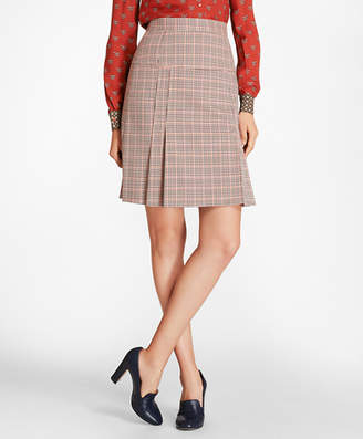 Brooks Brothers Petite Houndstooth-Checked Stretch-Wool Pleated Skirt