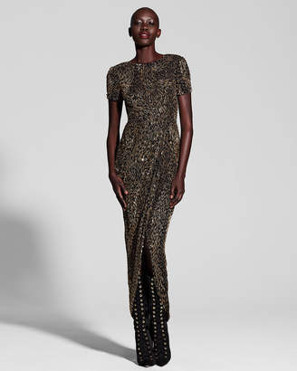 J. Mendel Metallic Beaded Short-Sleeve Gown, Multi