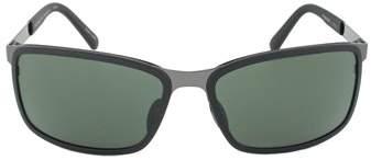 Porsche Design Design P8552 A Rectangular Sunglasses | Black Frame | Green Lens.