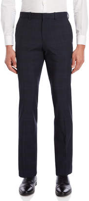 Famous Designer Navy Marlo Plaid Dress Pants