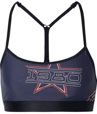 P.E Nation The Open Comp Printed Stretch Sports Bra - Navy