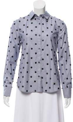 Tanya Taylor Embellished Button-Up Top w/ Tags