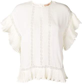 Twin-Set lace insert frill trim top