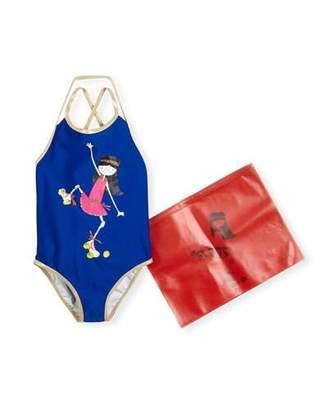 Little Marc Jacobs Miss Marc Strappy One-Piece Swimsuit, Blue, Size 6-10 $101 thestylecure.com