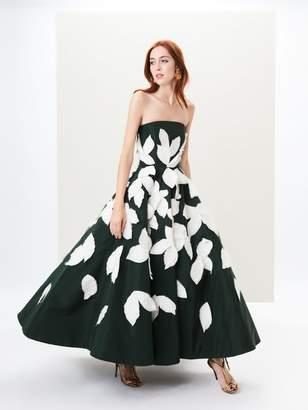 Oscar de la Renta Fern Embroidered Silk-Faille Gown