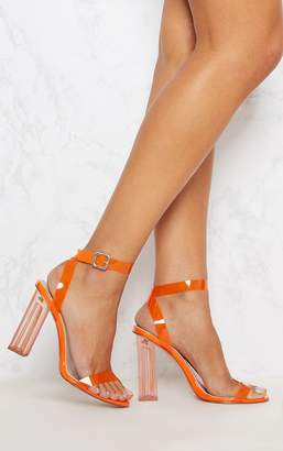 PrettyLittleThing Orange Coloured Clear Strappy Heel