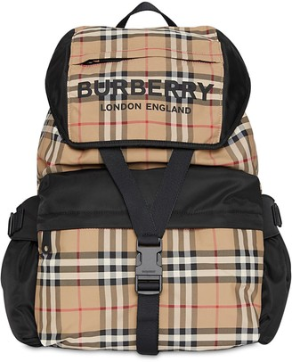 Burberry Wilfin Check Print Nylon Backpack