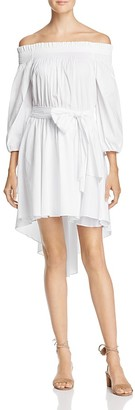 Olivaceous Off-the-Shoulder High/Low Dress $78 thestylecure.com