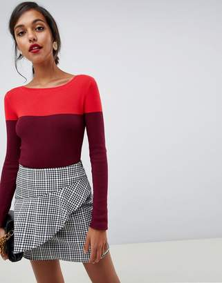 Oasis color block sweater in red