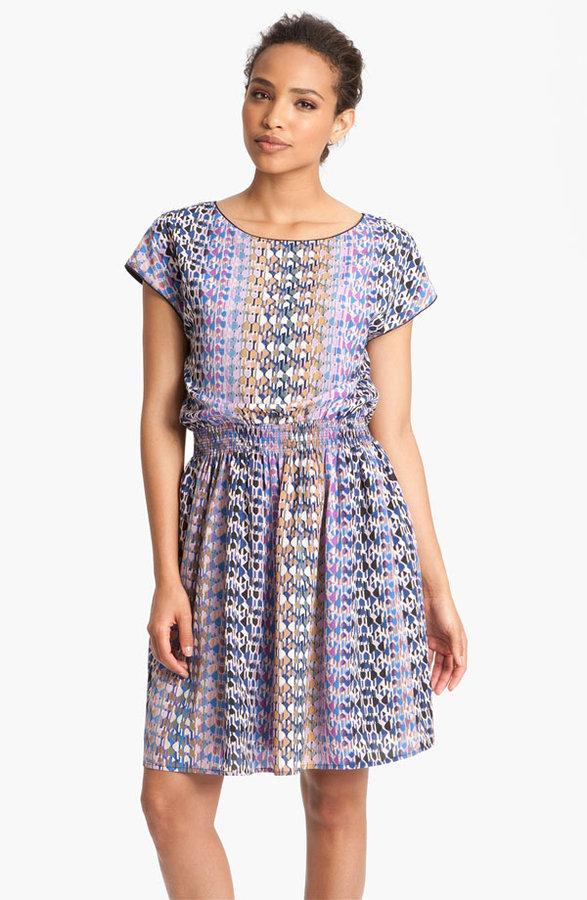 Eliza J Short Sleeve Print Crêpe de Chine Day Dress