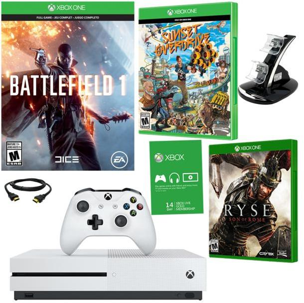 "Microsoft Xbox One S 4K Ultra HD 500GB White Console with ""Battlefield 1,"" ""Sunset Overdrive"" and ""Ryse: Son of Rome"" Games and..."