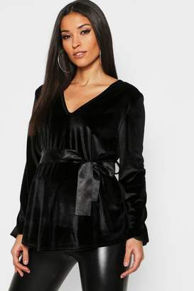 boohoo Maternity Velvet Wrap Top With Ribbon Tie