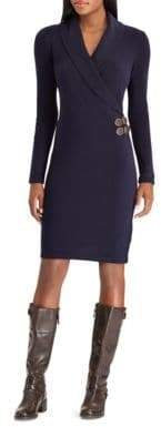 Chaps Buckled Wrap Dress